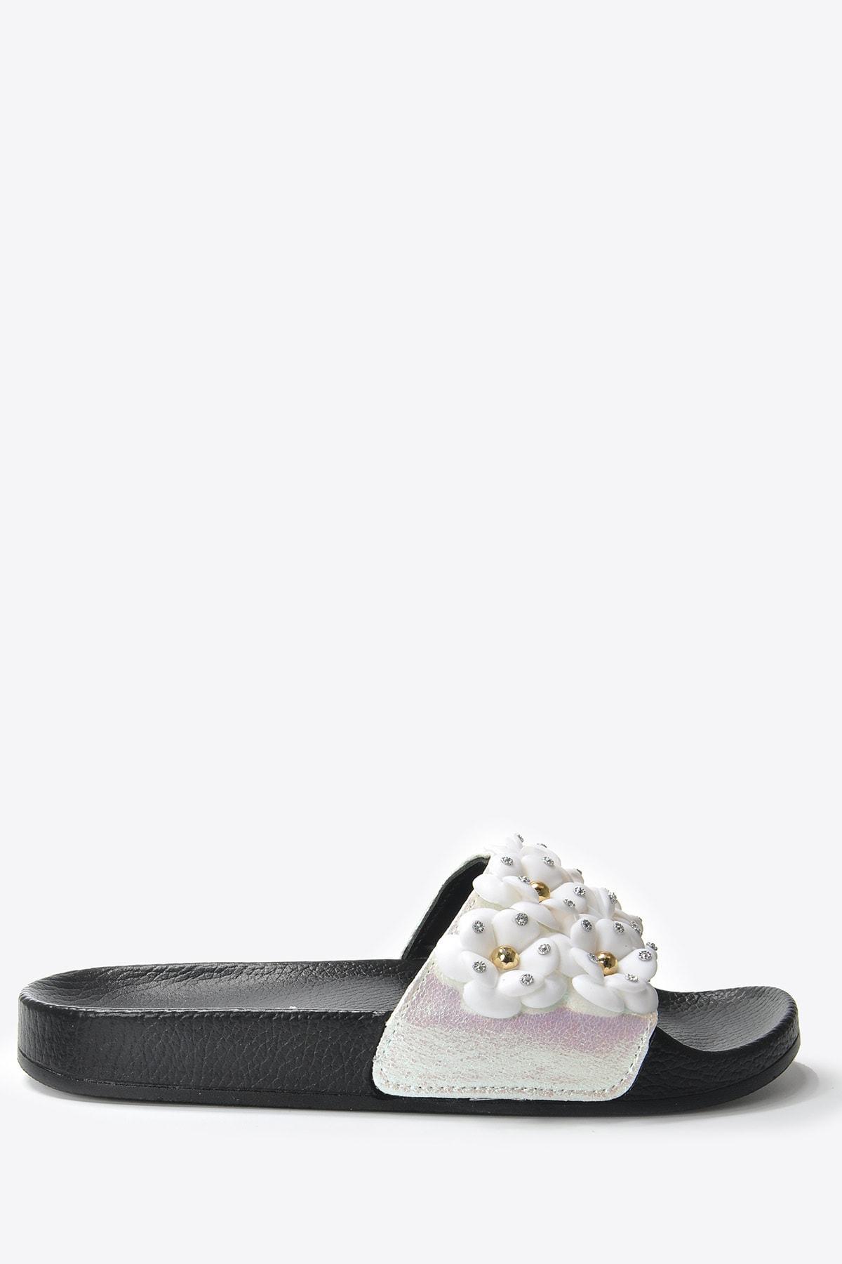 Vizon Ayakkabı Kadın Beyaz Suni Deri Terlik Vzn20-169y 1