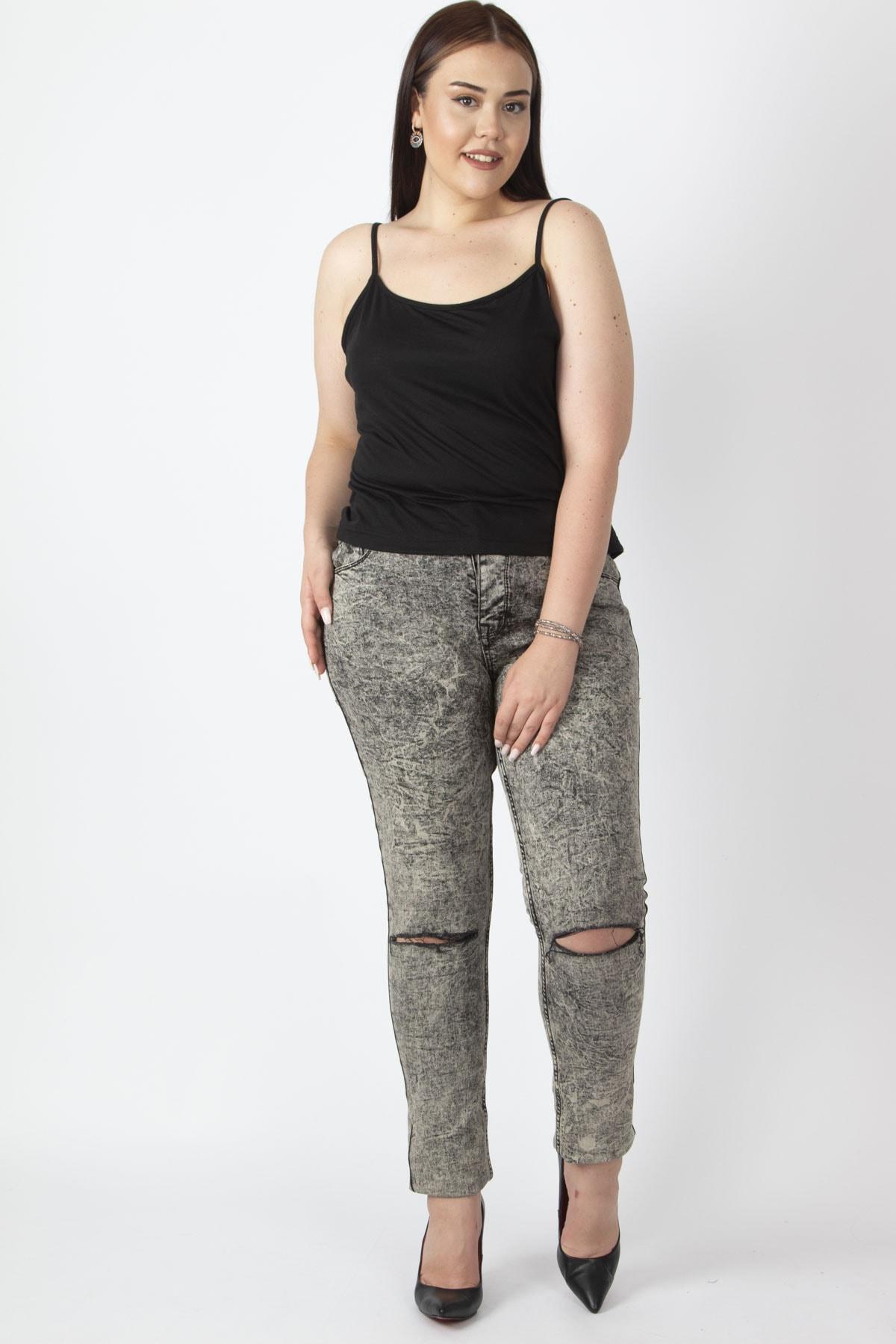 Şans Kadın Bej Yıkama Efektli Yırtık Detaylı Kot Pantolon 65N17044 1