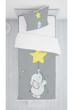 halımarkt Hm-b15 Sevimli Sarı Yıldızlı Fil Yatak Örtüsü Takımı