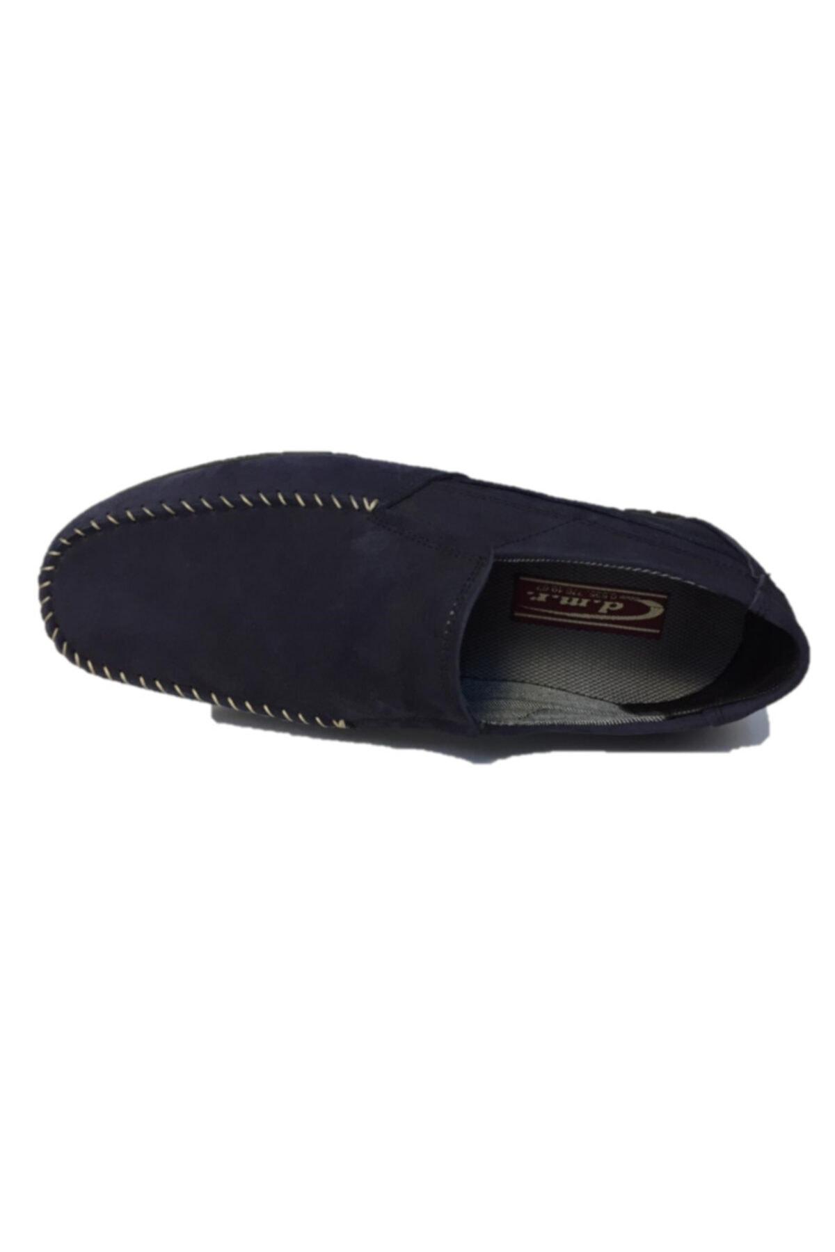 DMR Erkek Lacivert Hakiki Gerçek Nubuk Deri Bağcıksız Hafif Loafer Ayakkabı 2
