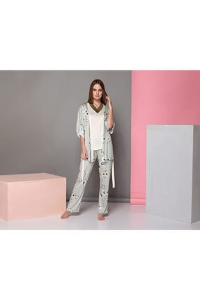 Sevim Kadın Çiçekli Pijama Takım 3'Lü