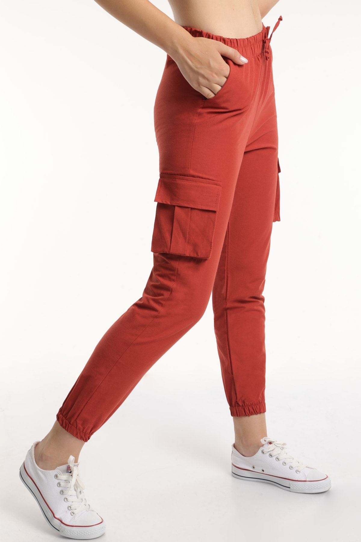 MD trend Kadın Kiremit Bel Lastikli Kargo Pantolon Mdt6582 1