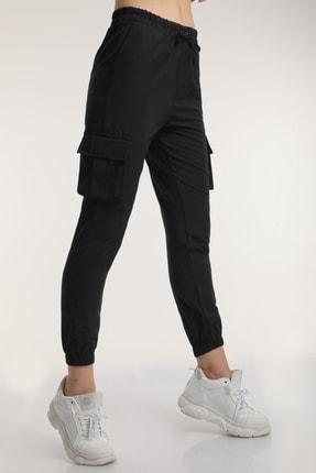 MD trend Kadın Siyah Bel Lastikli Kargo Pantolon Mdt6582