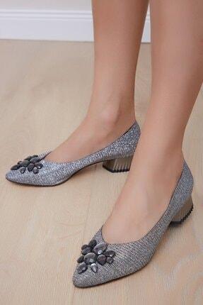 Shoes Time Kadın Platin Topuklu Ayakkabı 20y 212