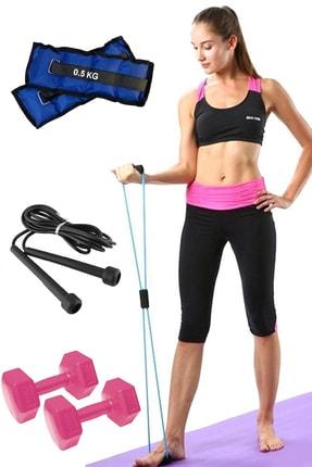 Jet Pilates Seti Egzersiz Direnç Lastiği, 1 Kg Dambıl Seti, El Ayak Ağırlığı Kum Torbası, Atlama Ipi