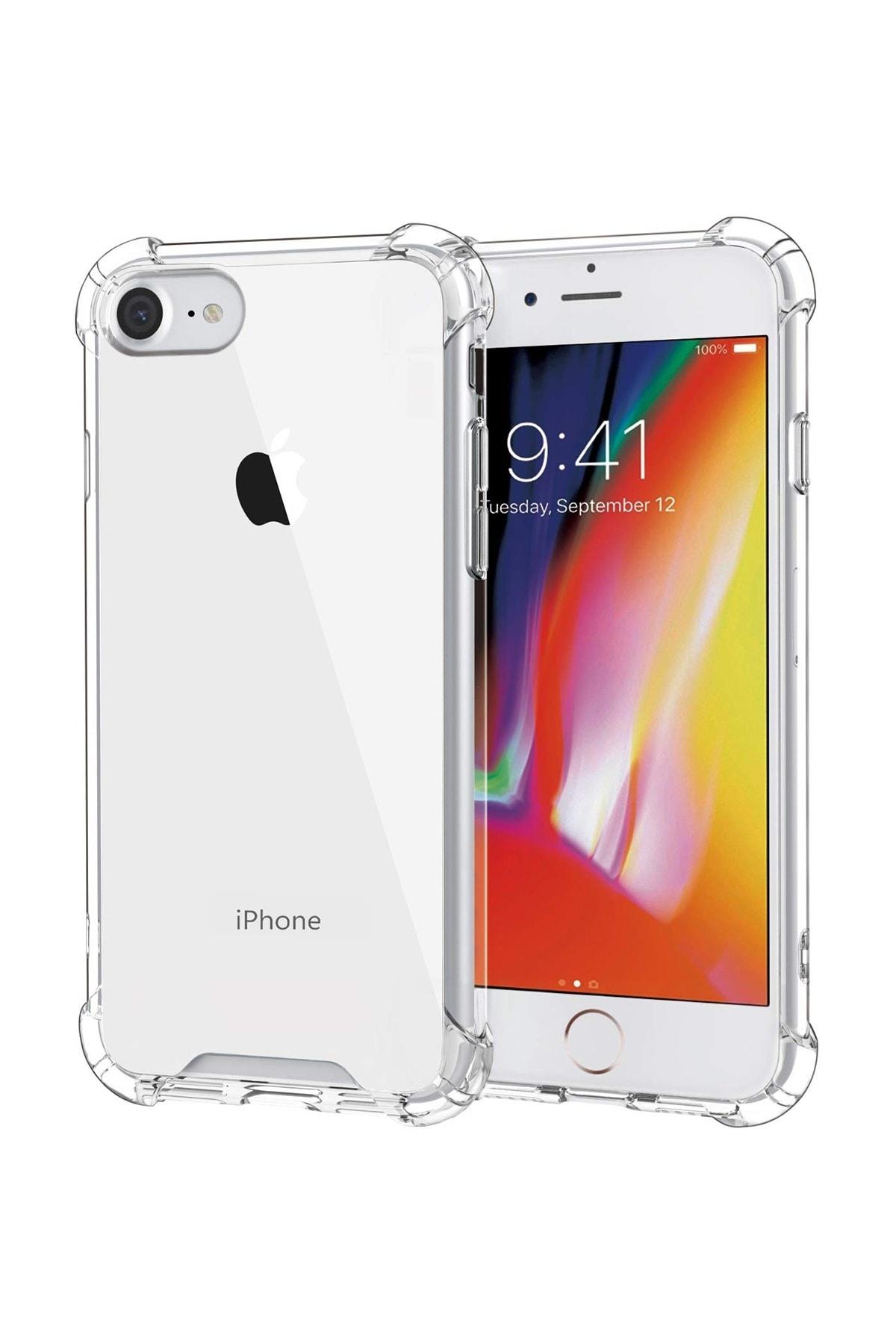 sepetzy Apple Iphone 8 Kılıf Köşe Korumalı Antishock Airbag Şeffaf Kapak 1