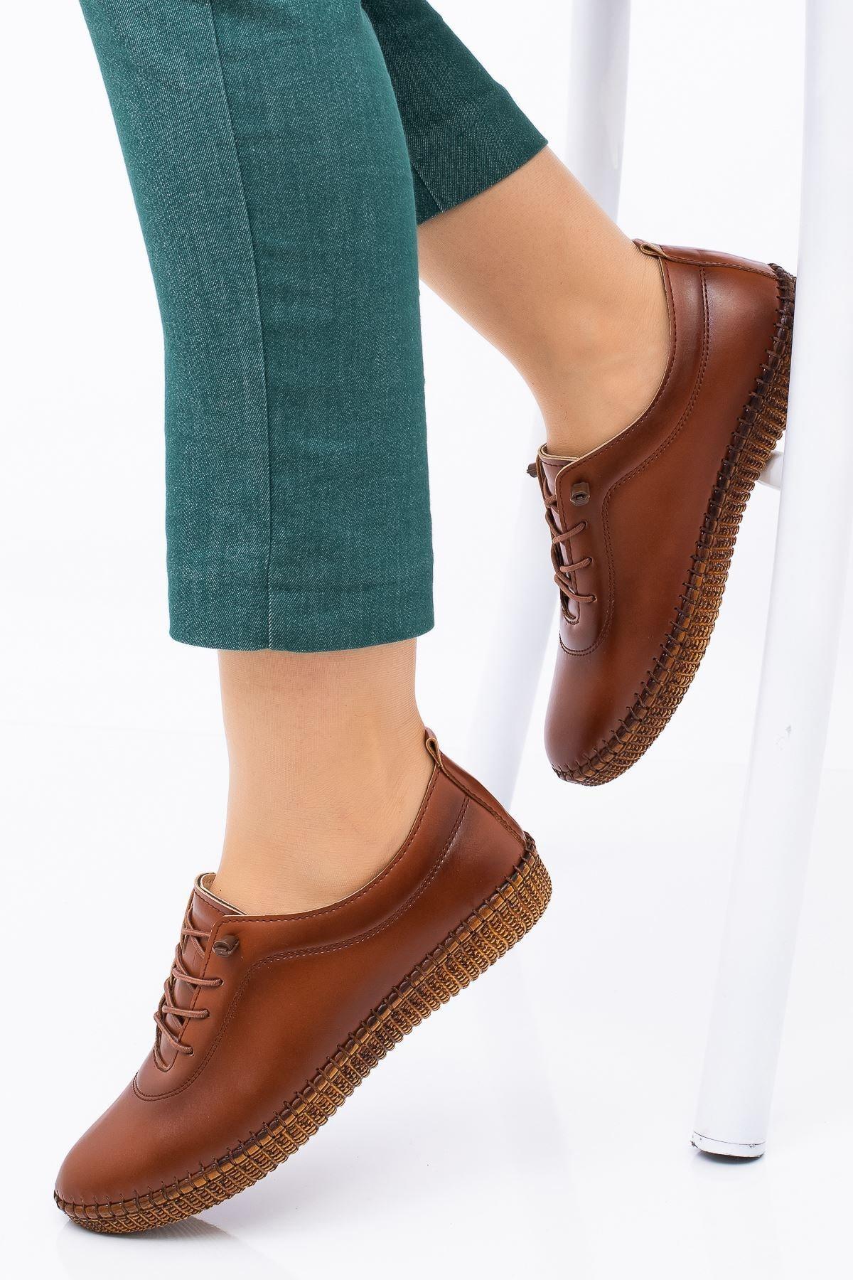 Hoba Kadın Ortopedik Taba Lastik Bağcıklı Içi Deri Alçak Topuklu Günlük Rahat Ayakkabı 1