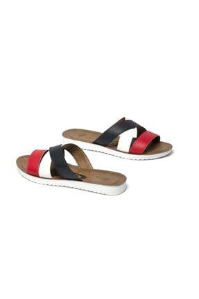 Prive Kadın Beyaz -Siyah -Kırmızı Renkli Terlik