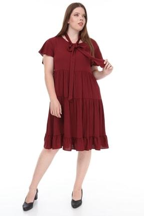 Lir Kadın Büyük Beden Fırfır Katlı Yarım Kol Elbise Bordo