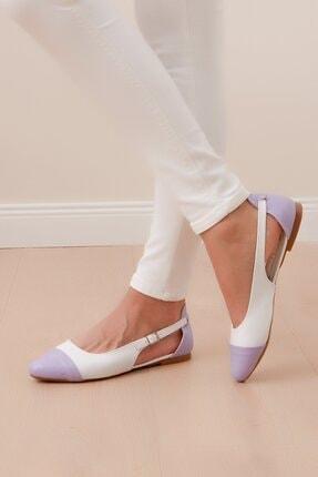 Shoes Time Kadın Beyaz Lila Babet 20y 415