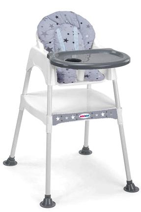 MiniMisi Mama Sandalyesi Çalışma Masası Konforlu Minderli Lüx Kılıflı Gri