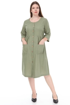 Lir Kadın Büyük Beden Cepli Düğmeli Elbise Haki