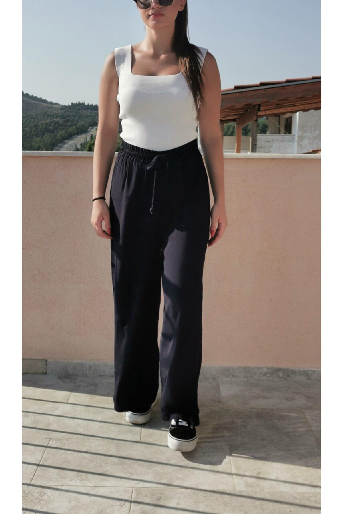 BEBE PLUS Kadın Lacivert Beli Lastikli Palozzo Pantolon 1