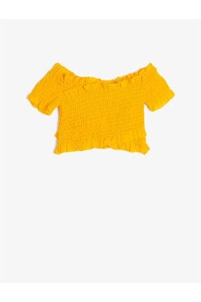 Koton Kadın Sarı Büzgülü V Yaka Kisa Kollu Bluz