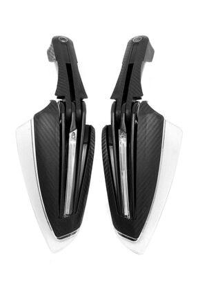Knmaster Motosiklet Evrensel Karbon Elcik Koruma Ledli Siyah