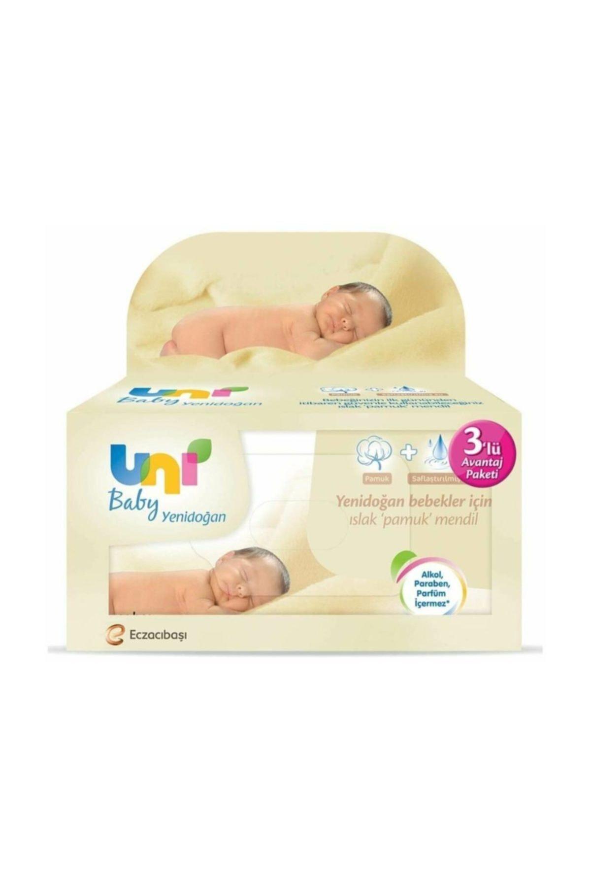 Uni Baby Yenidoğan 3'lü 120 Yaprak Islak Mendil 1