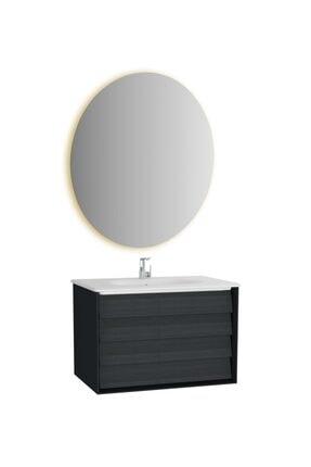VitrA Frame Lavabo Dolabı ve Ayna Seti, 80 cm, Mat Soft Siyah