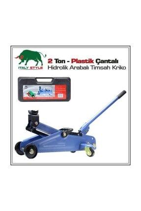 EvimShopping İtaly Style 2 Ton Arabalı Tekerlekli Hidrolik Timsah Kriko Plastik Taşıma Çantalı