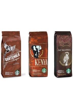 Starbucks Guatemala Kenya Sumatra Filtre Kahve 3x250 gr 3 Paket French Press İçin Çekilmiş
