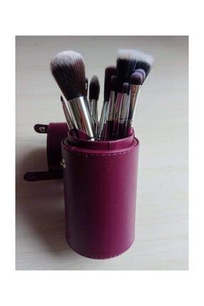 HANNAH 12 Parça Kupa Çantalı Makyaj Fırça Seti Mor