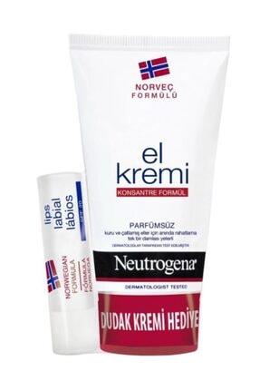 Neutrogena Parfümsüz El Kremi 75 ml + Dudak Kremi Hediye