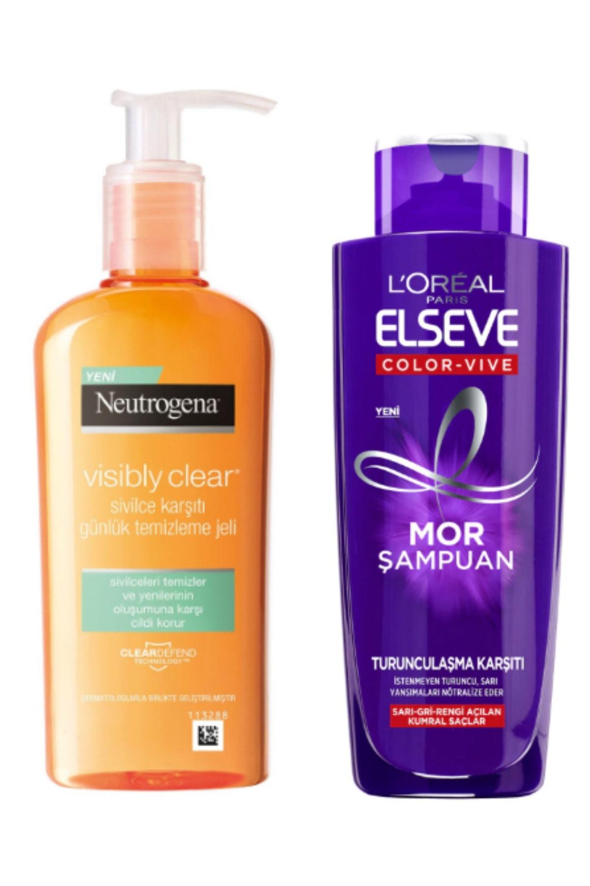 ELSEVE Mor Şampuan 200ml ve Visibly Clear Temizleme Jeli 1