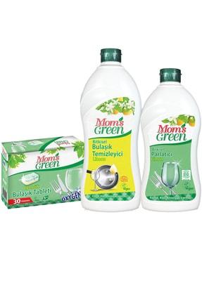 Mom's Green 3'lü Set Mom's Green  Ekolojik Tablet - Elde Bulaşık Deterjanı Limonlu - Parlatıcı