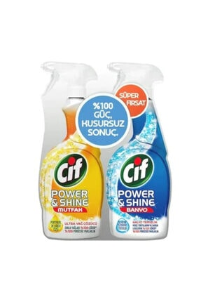 Cif Power & Shine Mutfak Yağ Çözücü Sprey 750 ML + Banyo Temizley