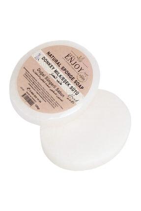 Enjoy Doğal Sabun Eşek Sütü El Yapımı Süngerli Vücut Duş Sabunu 125 gr