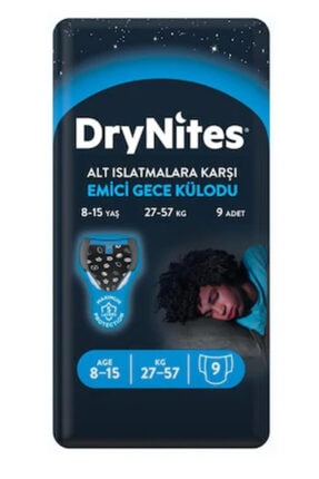 Huggies Drynites Erkek Emici Gece Külodu 8-15 Yaş 27-57Kg 9 lu