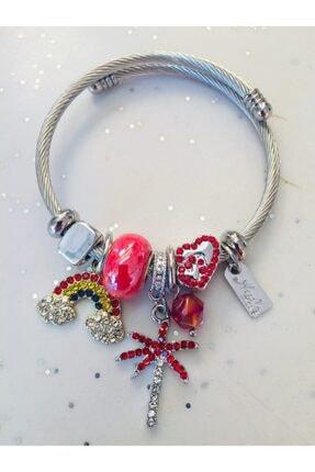 Pandora Gökkuşağı Ve Palmiye Charmlı Tarzı Bileklik Kırmızı