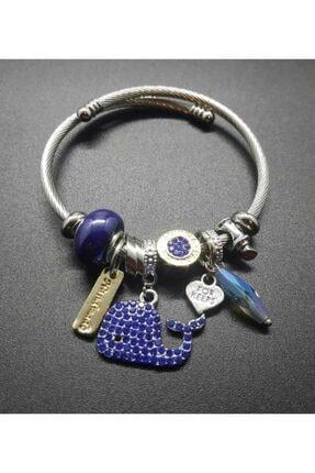 Pandora Balina Charmlı Şık Gümüş Kaplama Bileklik Mavi