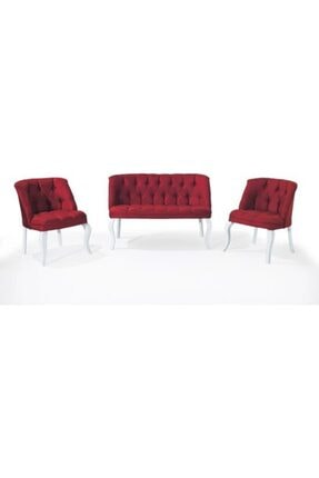 İndirim Çadırı Vinda Çay Seti Koltuk Takımı, Salon Balkon Takımı - 2+1+1 Bordo