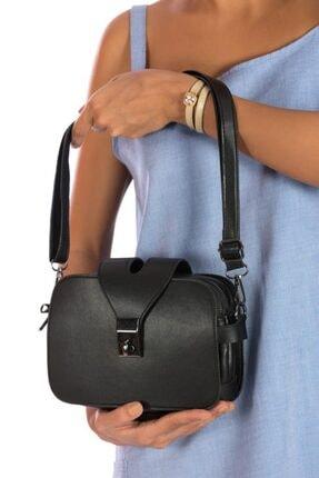 ESPARDİLE Kadın Siyah Üç Fermuarlı Omuz Çantası