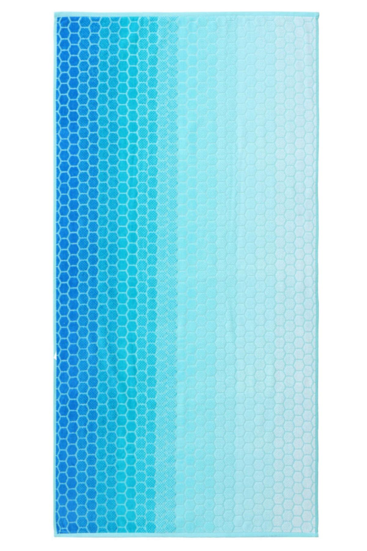 Özdilek Summer Heat Ombre Mavi Kadife 70x140 Cm. Plaj Havlusu 1