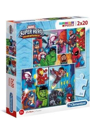 CLEMENTONI 2x20 Parça Super Hero Adventures Puzzle - Erkek Çocuk