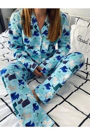MEDCEZİR MODA Önden Düğmeli Pamuklu Pijama Takımı - Köpeklerin Dostluğu