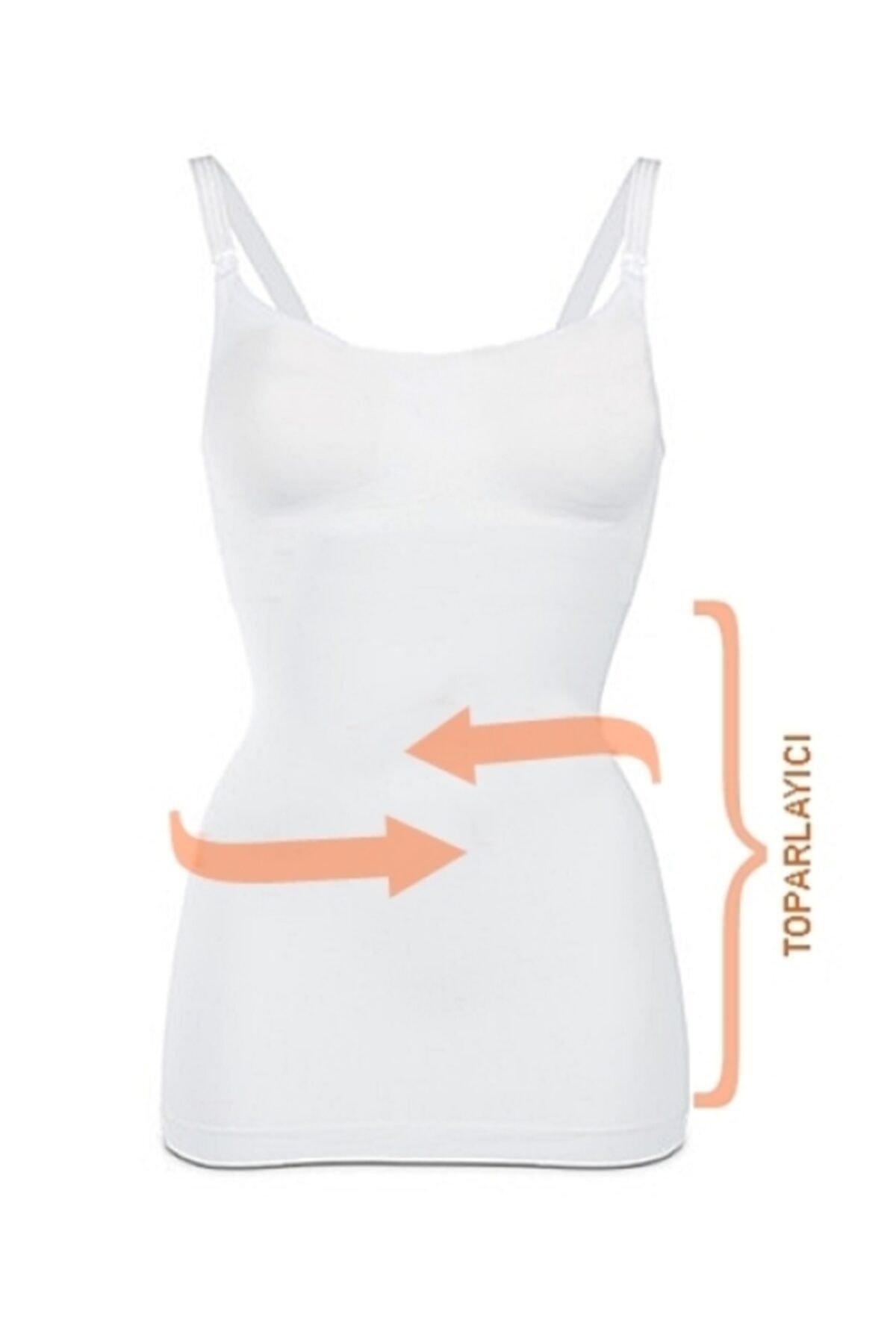 Akdağ Sportswear Toparlayıcı Miğde Ve Göbek Korseli Organik Koton Dikişsiz Beyaz Emzirme Atleti 1