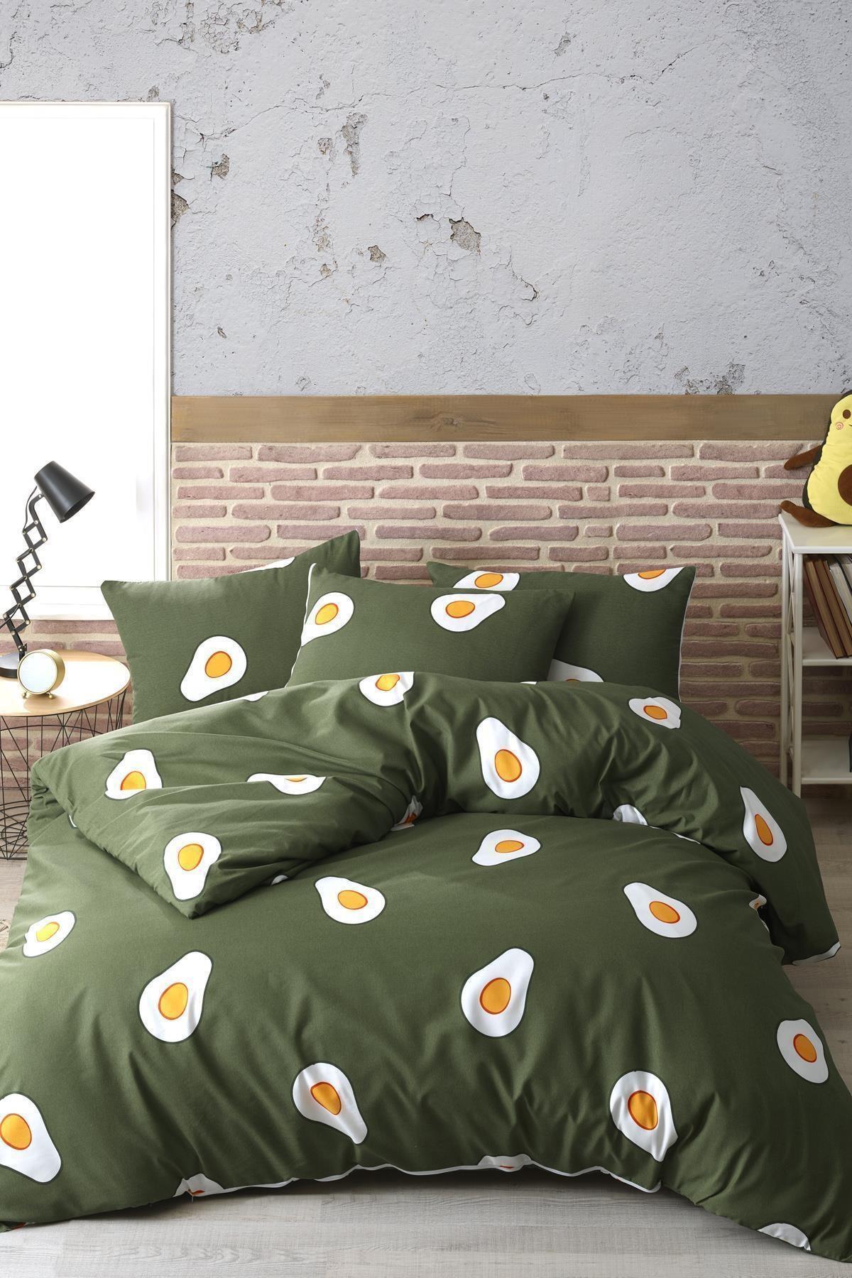 Zeynep Tekstil Avocado Pamuk Ranforce Çift Kişilik Avakado Nevresim Takımı 1