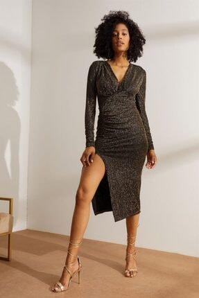 Setre Kadın Siyah V Yaka Drapeli Parlak Elbise