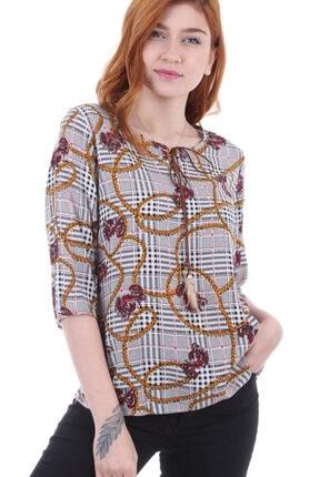 Bigdart Kadın Gri Yaka Biye Bağlamalı Bluz 0353