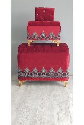 Kırçova Tekstil Şura Kırmızı 3'lü Çeyiz Sandığı