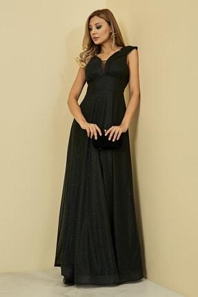 Sateen Kadın Siyah Simli Uzun Abiye Elbise