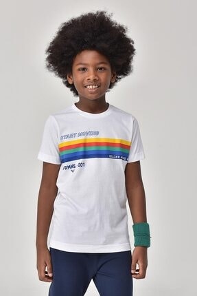 bilcee Beyaz Unisex Çocuk T-Shirt GS-8145