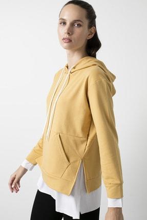 Lela Kadın Sarı Kapüşonlu Parça Detaylı Cepli Örme Sweatshirt
