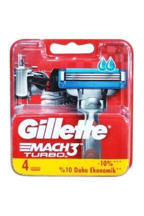 Gillette Mach3 Turbo 4'lü Yedek Tıraş Bıçağı Kırmızı Seri (2'li Avantaj Paketi)