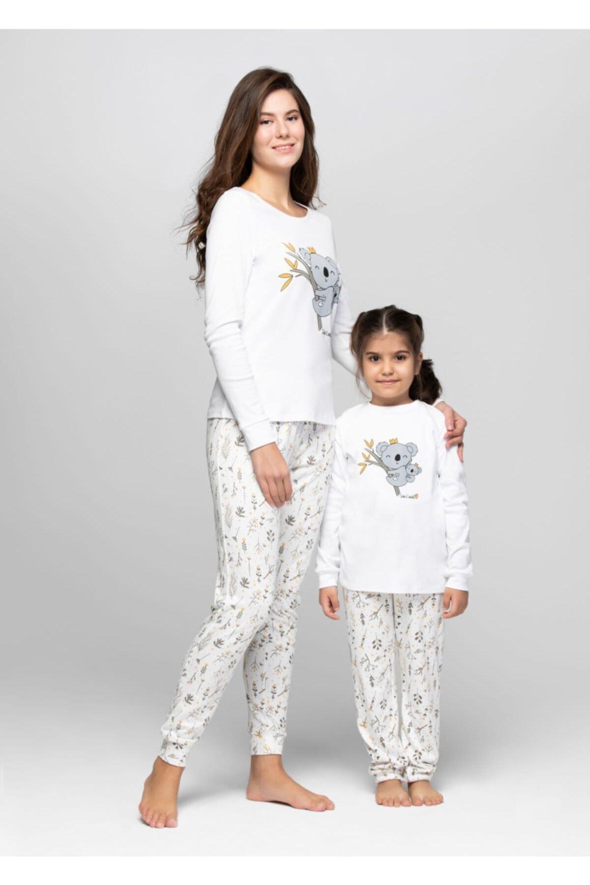 JUST BASIC Anne Kız Ekru Koala Pijama Takımı 1