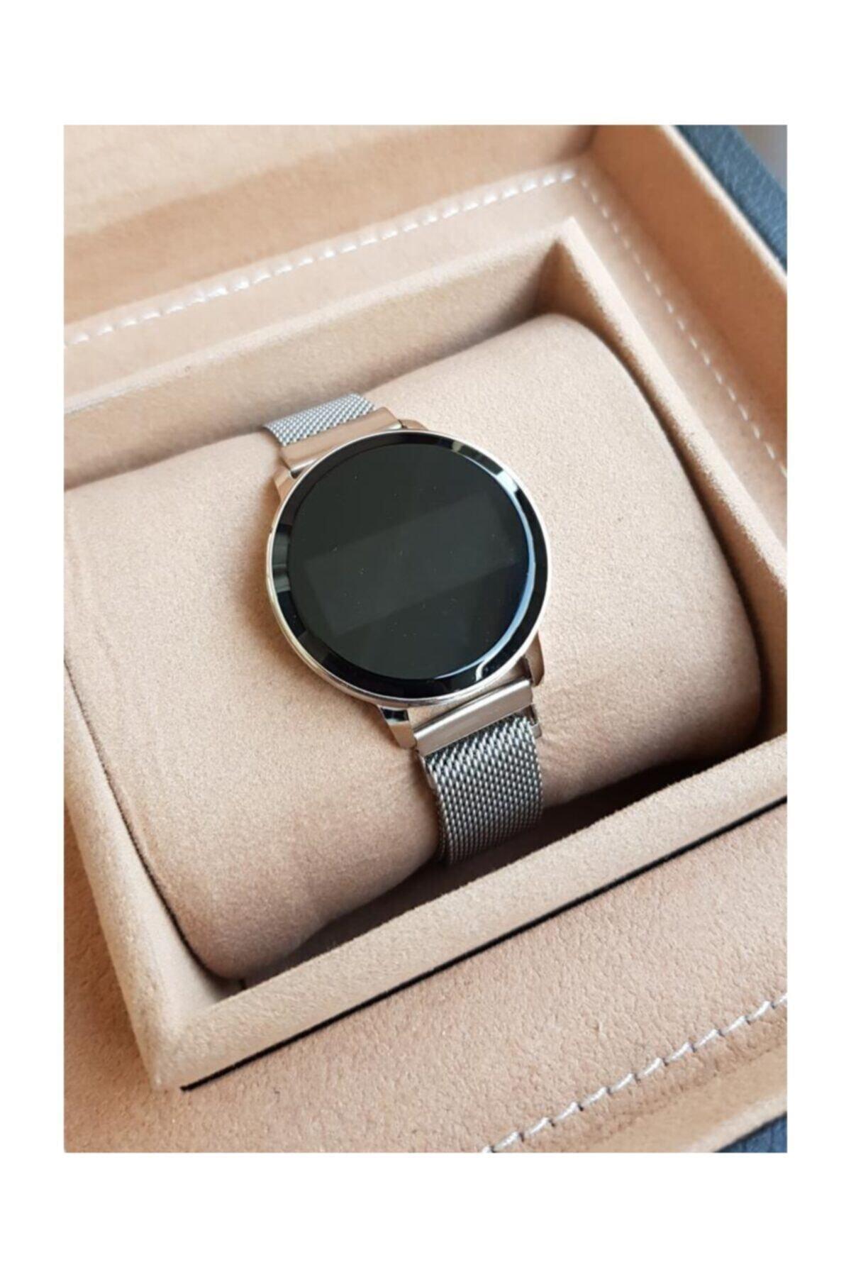 Spectrum Kadın Gümüş Hasır Mıknatıslı Kordon Dokunmatik Ekranlı Saati 1