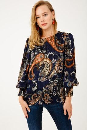 Ekol Kadın Lacivert Kolu Lastikli Desenli Bluz