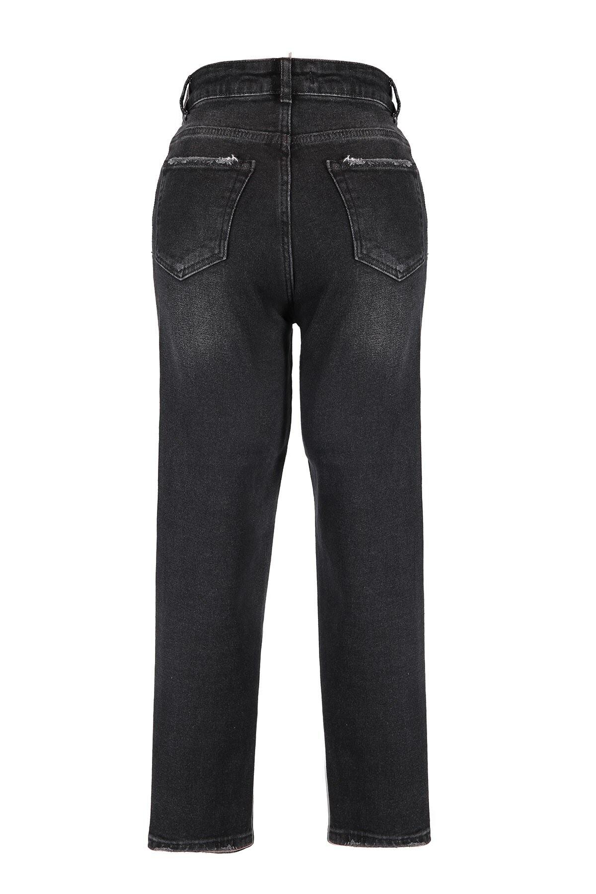 Oblavion Kadın Siyah Mom Jeans 2